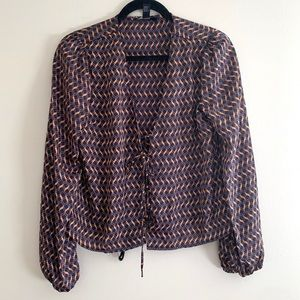 Forever 21 front lace up blouse geometric pattern